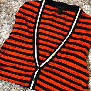 JCrew Orangey Red Striped Cardigan NEW